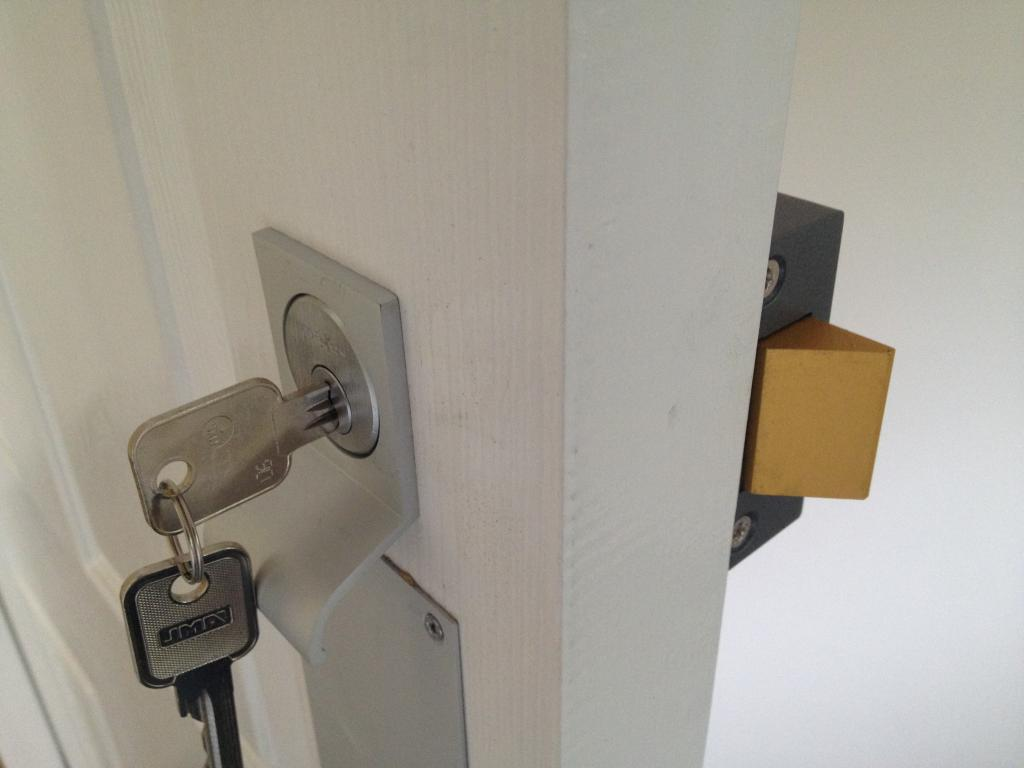 lock fitted into a door