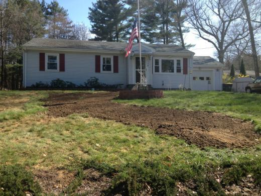 carefully graded yard after digging trench