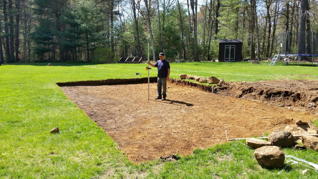 pool preparation by grading land level