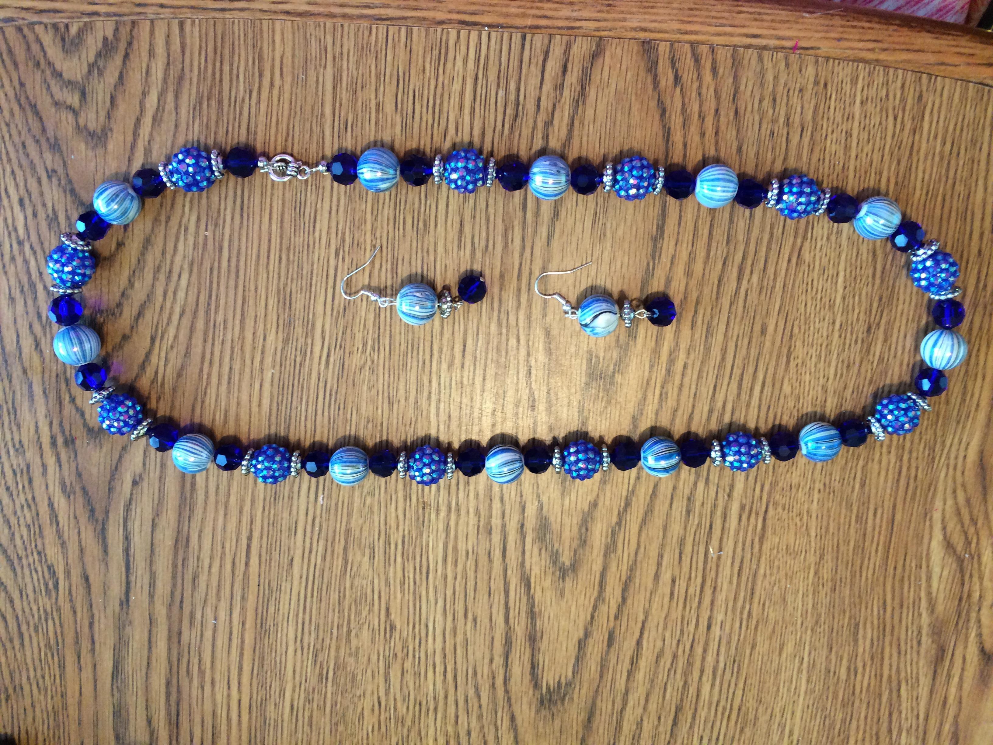 Blue tone Necklace & Earring set