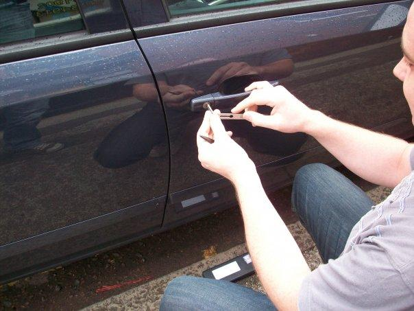 unlocking a car door in Dudley