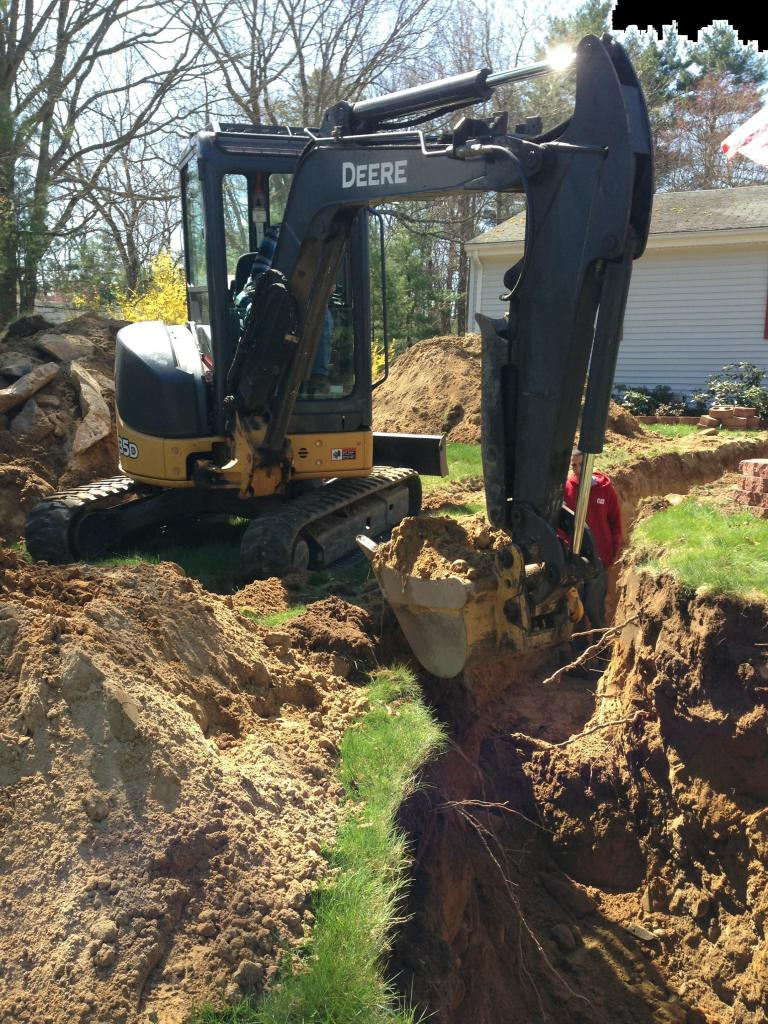 water line trench being dug