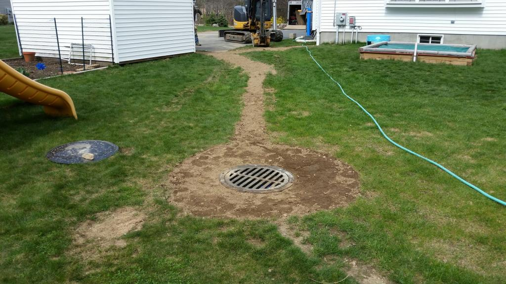 Phil's Excavating backyard drain Lincoln RI