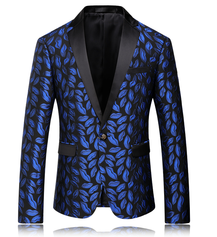 Charming Blue Antique Floral Leaves Blazer For Men