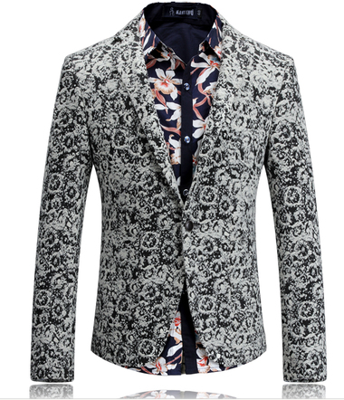 Attractive Black White Camouflage Wool Blend Blazer