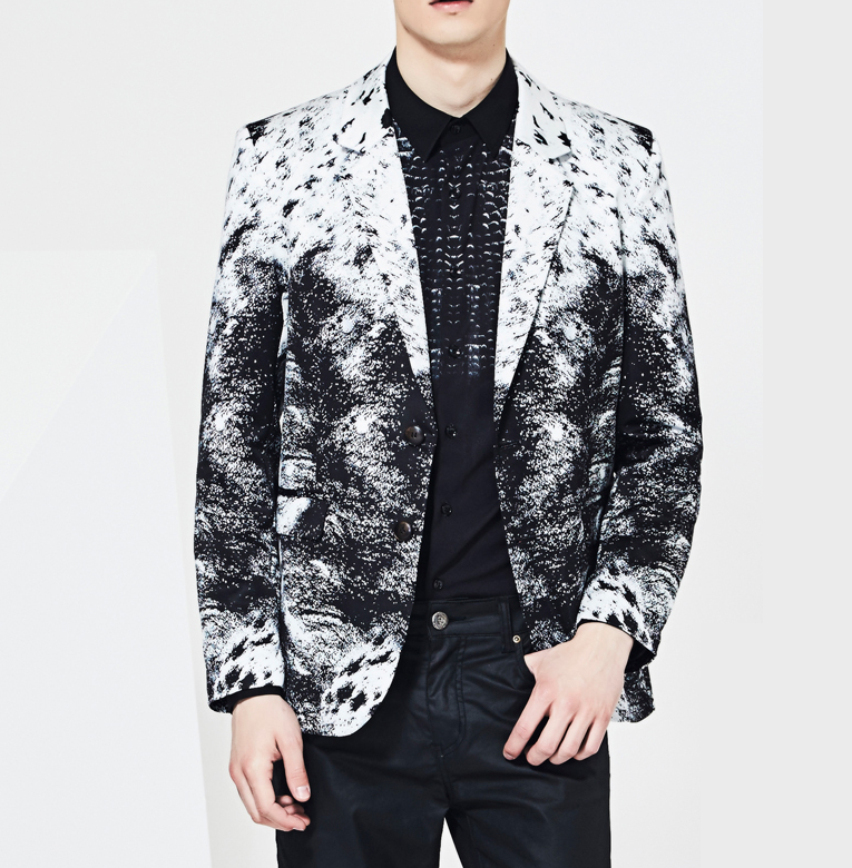 Gentlemens Art Black White Printed Blazer